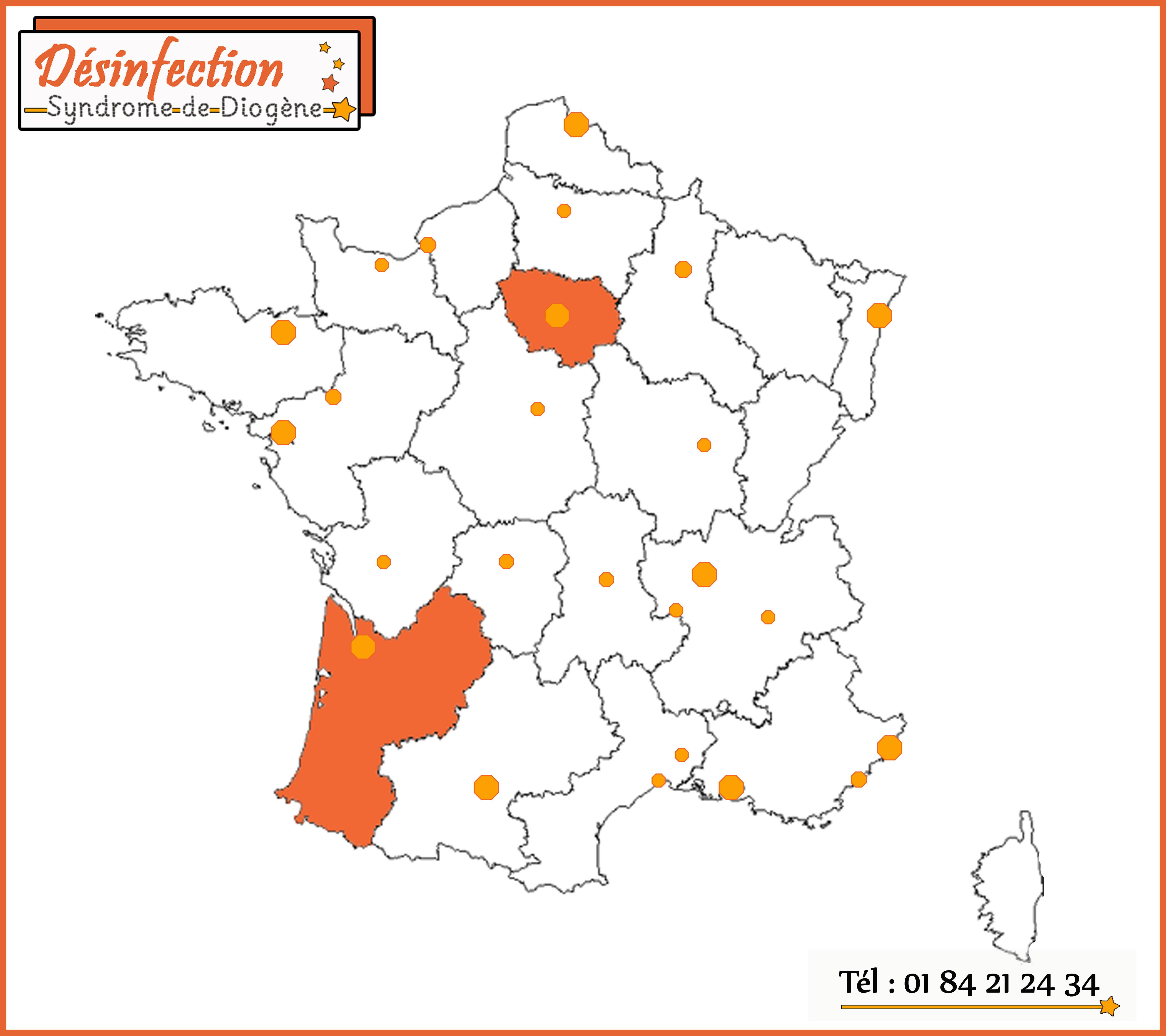 Notre entreprise désinfection syndrome Diogène intervient dans les grandes villes de France et leur région.